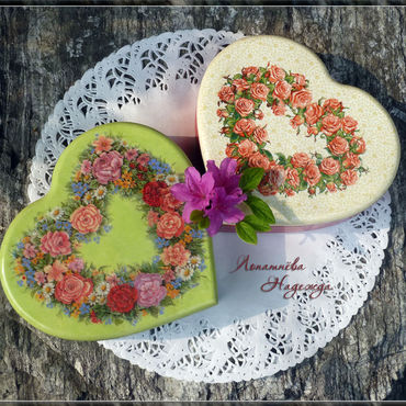 """Для дома и интерьера ручной работы. Ярмарка Мастеров - ручная работа Шкатулка """"Цветы в моём сердце"""". Handmade."""