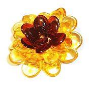 Украшения handmade. Livemaster - original item Amber flower brooch with natural stone gifts for women girl. Handmade.