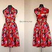 Одежда ручной работы. Ярмарка Мастеров - ручная работа Красное платье с цветами. Handmade.