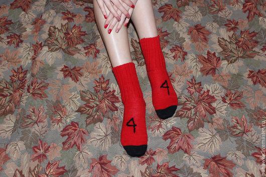 """Носки, Чулки ручной работы. Ярмарка Мастеров - ручная работа. Купить Носки вязаные унисекс  """"4"""". Handmade. Ярко-красный"""