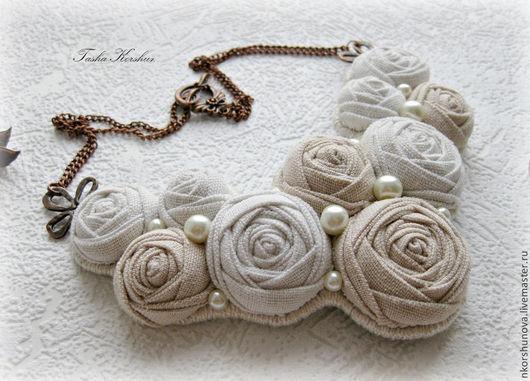 """Колье, бусы ручной работы. Ярмарка Мастеров - ручная работа. Купить Колье """" Нежные розы холодной зимой..."""". Handmade."""