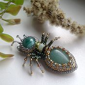 Украшения handmade. Livemaster - original item Brooch with stones and beads