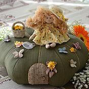 """Куклы и игрушки ручной работы. Ярмарка Мастеров - ручная работа """"Лето на тыкве"""", интерьерная композиция. Handmade."""