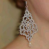 Украшения handmade. Livemaster - original item Openwork earrings with pearls
