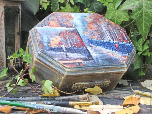 """Шкатулки ручной работы. Ярмарка Мастеров - ручная работа. Купить Шкатулка """"Осень"""". Handmade. Синий, шкатулка для мелочей, для интерьера"""