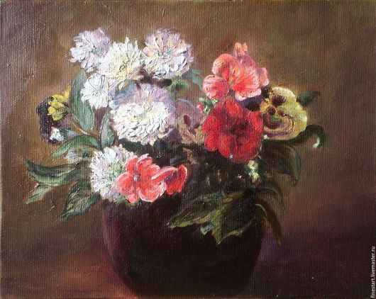 Картина маслом Цветы в глиняной вазе Купить картину не дорого Живопись в подарок Купить копию картины