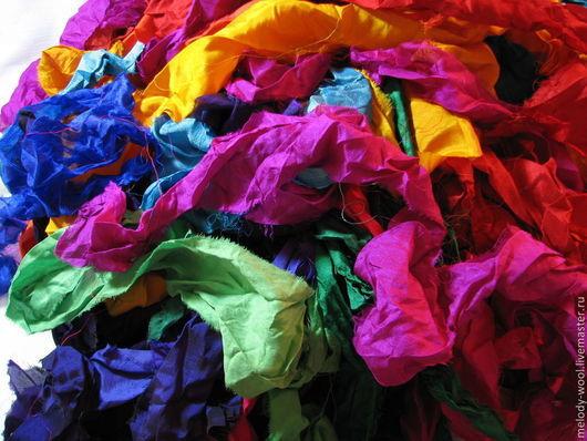 Валяние ручной работы. Ярмарка Мастеров - ручная работа. Купить Ленты сари для декора (разноцветные). Handmade. Сари, Валяние, нунофелтинг