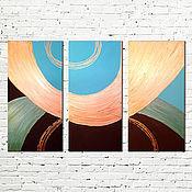 """Картины и панно ручной работы. Ярмарка Мастеров - ручная работа Модульная картина """"Бирюза с золотом"""". Handmade."""
