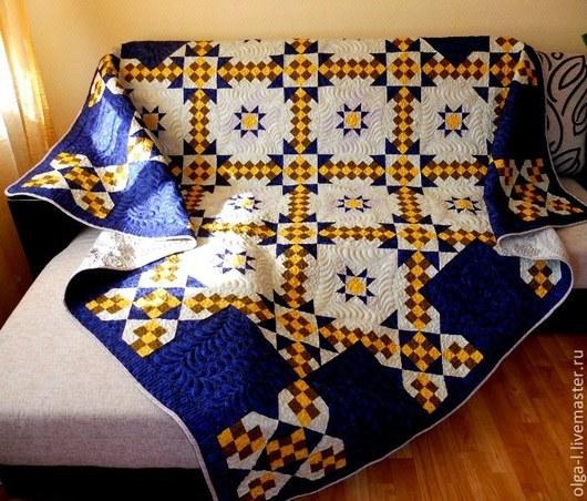 """Текстиль, ковры ручной работы. Ярмарка Мастеров - ручная работа. Купить Покрывало стеганое лоскутное двуспальное """"Ночка"""" Пэчворк. Handmade."""