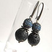 Украшения handmade. Livemaster - original item Earrings made of black and blue lava. Handmade.