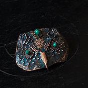 Украшения handmade. Livemaster - original item OWL: patinated copper brooch with natural malachite, hand made jewelry. Handmade.