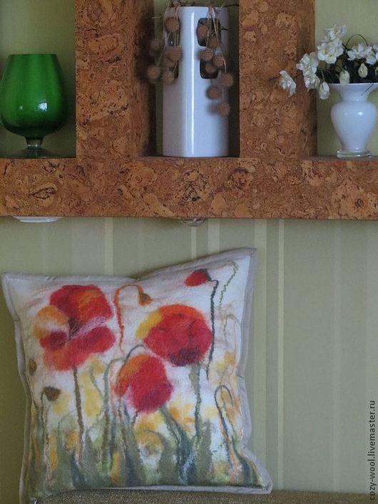Текстиль, ковры ручной работы. Ярмарка Мастеров - ручная работа. Купить Декоративная подушка И снова маки.... Handmade. Разноцветный