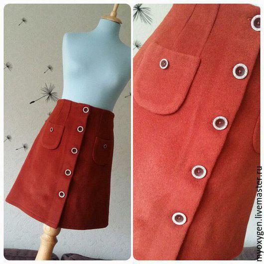Юбки ручной работы. Ярмарка Мастеров - ручная работа. Купить Тёплая юбка на пуговицах, шерстяной драп. Handmade. Рыжий