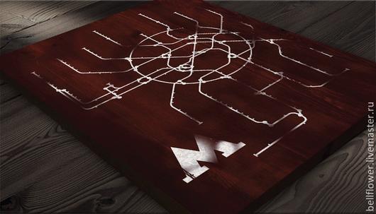 Интерьерные слова ручной работы. Ярмарка Мастеров - ручная работа. Купить Интерьерная вывеска Метро Москвы. Handmade. Бордовый, транспорт