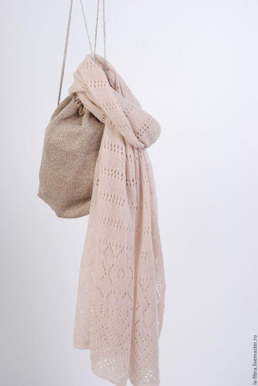 Шарфы и шарфики ручной работы. Ярмарка Мастеров - ручная работа. Купить Пудровая дымка тонкий шарф из кашемира. Handmade. комбинированный
