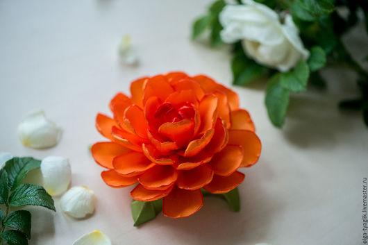 """Детская бижутерия ручной работы. Ярмарка Мастеров - ручная работа. Купить Пион """"Оранжевое настроение"""". Handmade. Яркий цветок"""