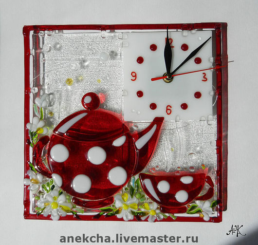 """Часы для дома ручной работы. Ярмарка Мастеров - ручная работа. Купить Часы """"Ромашковый чай"""". Handmade. Фьюзинг стекло"""