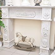 Для дома и интерьера ручной работы. Ярмарка Мастеров - ручная работа Камин деревянный белый Прованс 2К, состаренный. Handmade.