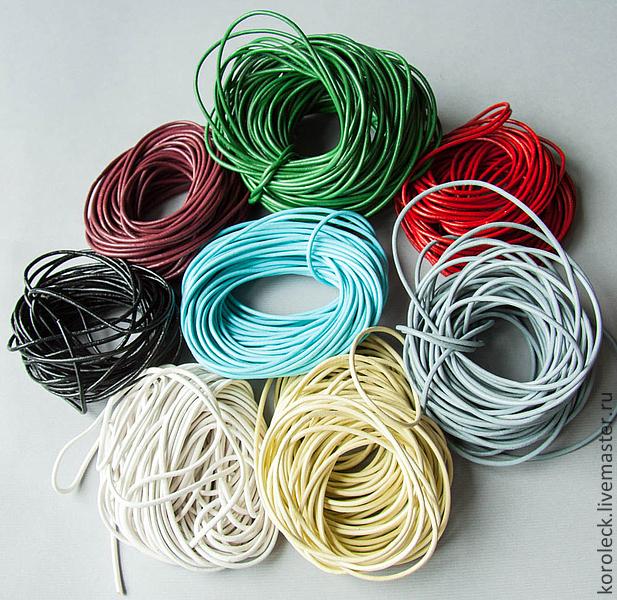 Для украшений ручной работы. Ярмарка Мастеров - ручная работа. Купить Шнуры кожаные, круглые, толщиной 2 мм разного цвета. Handmade.