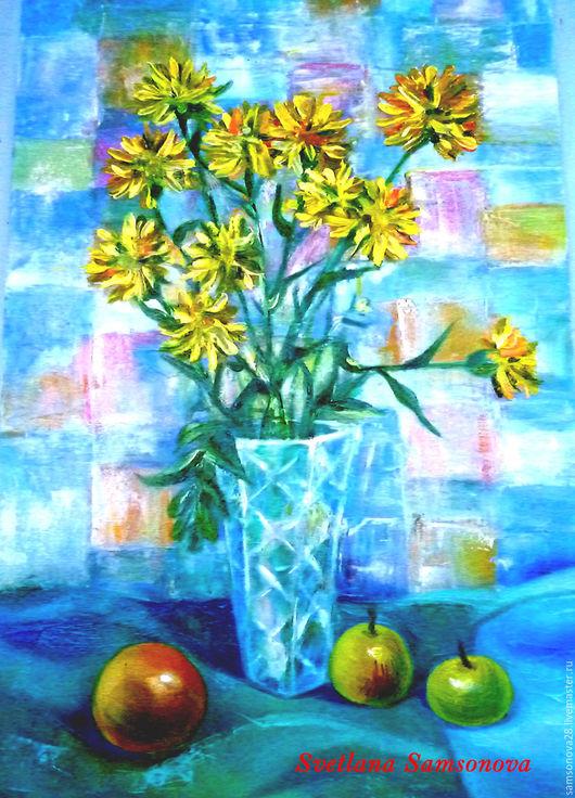 """Картины цветов ручной работы. Ярмарка Мастеров - ручная работа. Купить Картина маслом""""Желтые цветы"""". Handmade. Голубой цвет"""