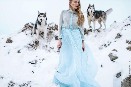 Платье. Платье в пол нежно-голубого цвета. Платье длинное повседневное. Платье вечерние. Платье расшитое шифоновое. Струящееся платье вечернее.