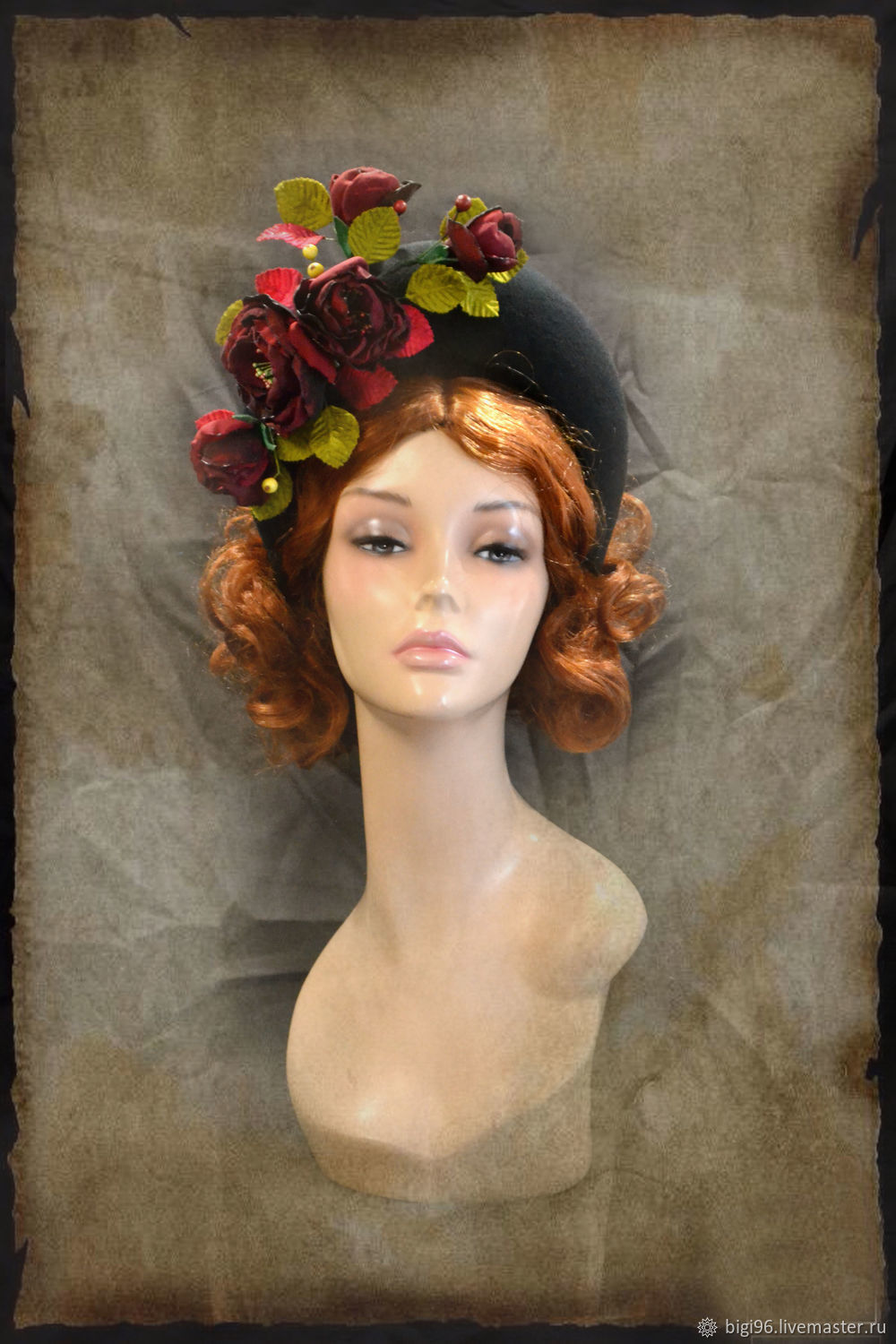 Hat rim 'Red roses', Hats1, Moscow,  Фото №1