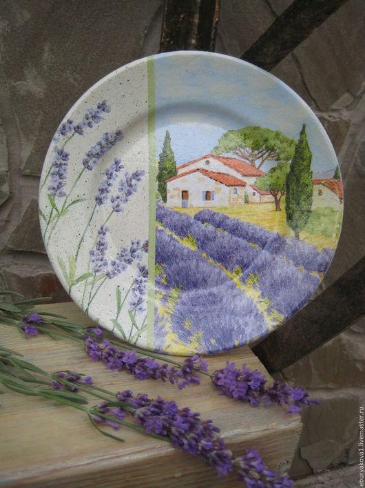Тарелочка `Лавандовое поле`. Ярмарка Мастеров. Купить декоративную тарелочку. Тарелочка на стену.