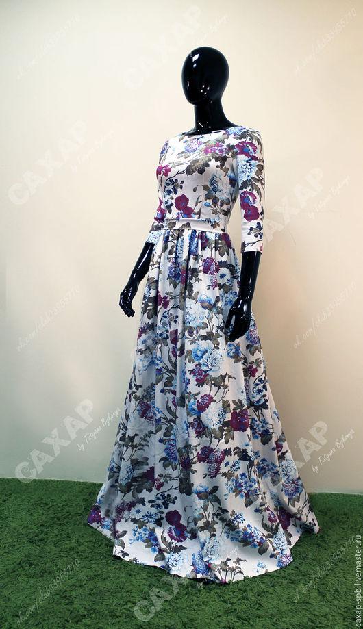 Платье из джинсы `Пион букет` Срок изготовления до 7 дней, при необходимости можно ускорить процесс. Размеры 40, 42, 44, 46, 48, 50, 52, 54, 56, 58, 60.