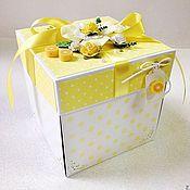 Свадебный салон ручной работы. Ярмарка Мастеров - ручная работа Коробочка для денег Magic Box Лимонная. Handmade.