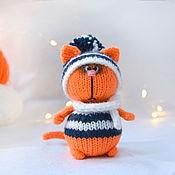 handmade. Livemaster - original item Ginger cat in a hat and scarf. Handmade.