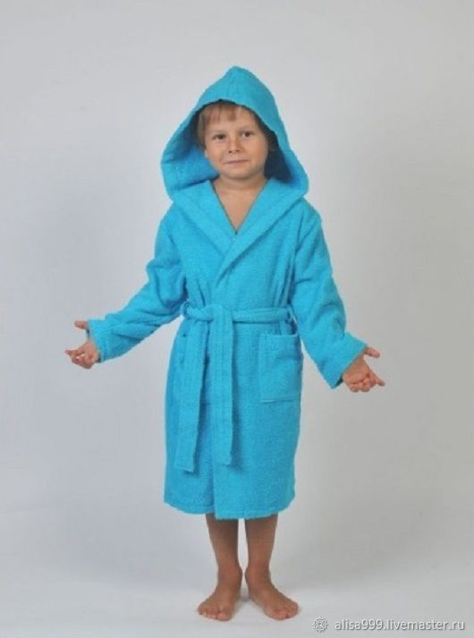 Children's Bathrobe. turquoise, T-shirts and tops, Moscow,  Фото №1