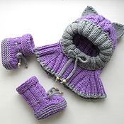 Работы для детей, handmade. Livemaster - original item Kt Cute kitty (hat with ears booties-boots). Handmade.