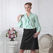Одежда ручной работы. Ярмарка Мастеров - ручная работа 154:шелковая блуза с бантом, офисная блузка с бантом. Handmade.