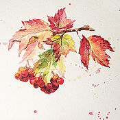 Картины и панно handmade. Livemaster - original item Viburnum twig, watercolor.. Handmade.