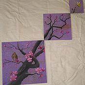 """Картины и панно ручной работы. Ярмарка Мастеров - ручная работа Триптих """"Весна"""". Handmade."""