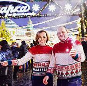 Одежда handmade. Livemaster - original item Sweater Snowman and Chukchi with a Norwegian ornament. Family kit. Handmade.