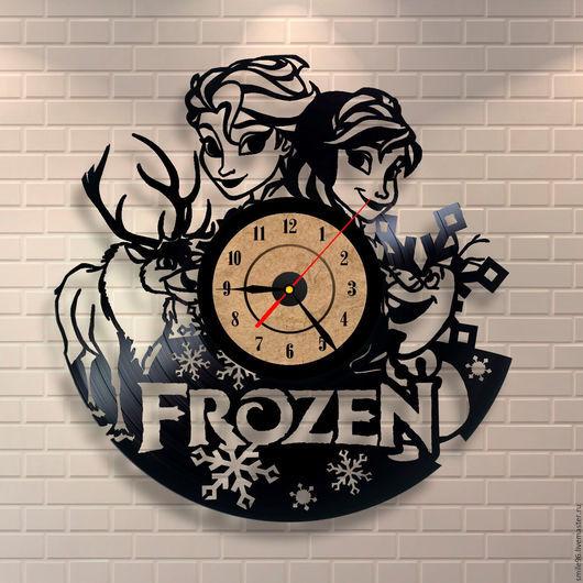 """Часы для дома ручной работы. Ярмарка Мастеров - ручная работа. Купить Часы из пластинки """"Холодное Сердце"""". Handmade. Комбинированный"""