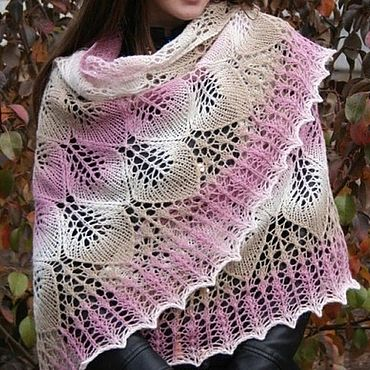 Accessories handmade. Livemaster - original item Openwork knitted shawl spokes Tenderness. Handmade.