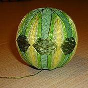 Сувениры и подарки ручной работы. Ярмарка Мастеров - ручная работа Темари, японские шары счастья (Зеленый) разноцветные вышитые шарики. Handmade.