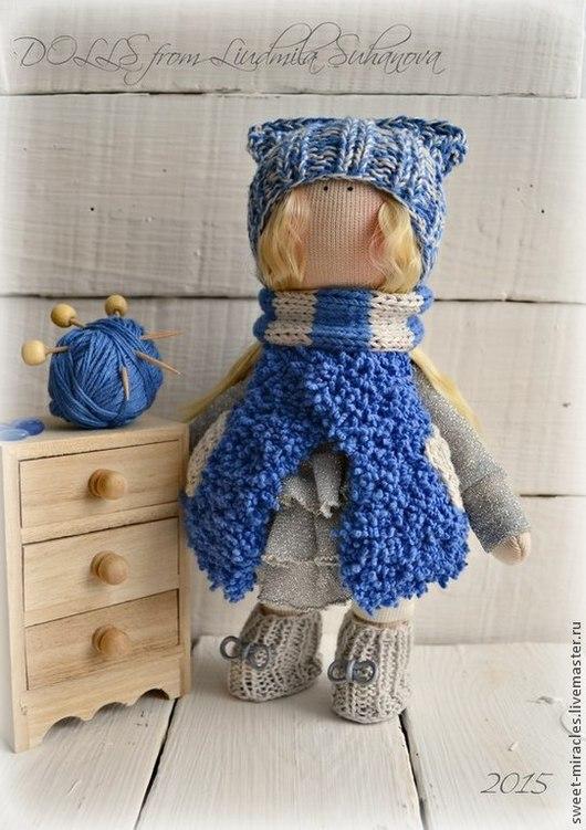 Коллекционные куклы ручной работы. Ярмарка Мастеров - ручная работа. Купить Кукла-малыш в сине-серой гамме. Handmade. Синий