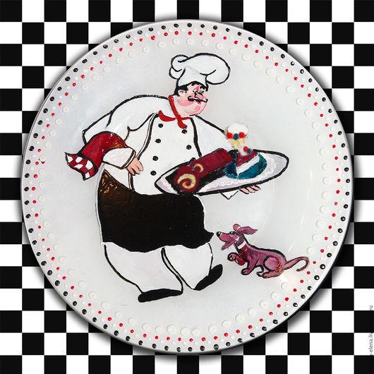Тарелки ручной работы. Ярмарка Мастеров - ручная работа. Купить Тарелка Повар с собачкой. Handmade. Комбинированный, повар, кондитер, кулинар