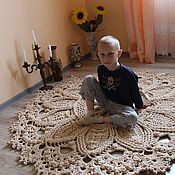 """Для дома и интерьера ручной работы. Ярмарка Мастеров - ручная работа ковер """"Белые Ажуры"""" 1м60. Handmade."""