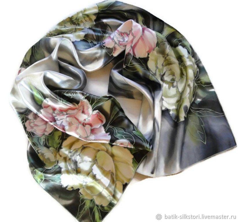 Batik Scarf Peony Paradise, Scarves, Moscow,  Фото №1