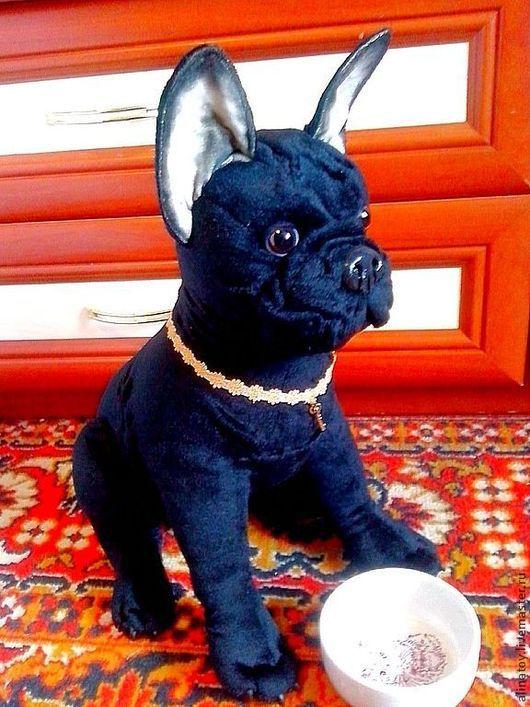 Французский черный бульдог, реалистичная игрушка,собака как  живая, пошив собаки по фото.