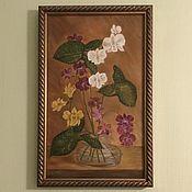 Элементы интерьера ручной работы. Ярмарка Мастеров - ручная работа Картина маслом орхидеи белые желтые бордо в склянк. Handmade.
