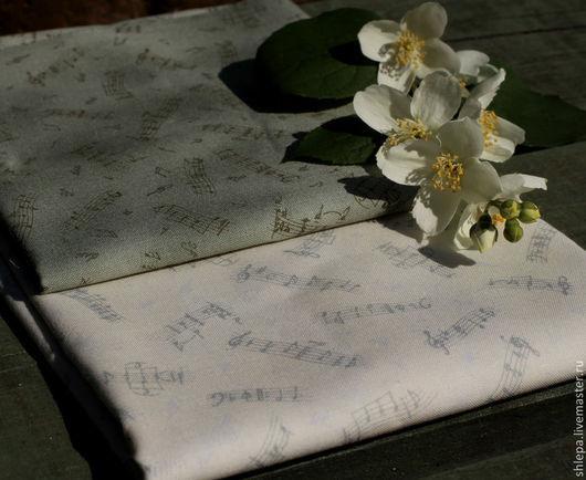 """Шитье ручной работы. Ярмарка Мастеров - ручная работа. Купить Японский хлопок  """"Ноты"""". Handmade. Серый, ткань для рукоделия, музыкальный"""
