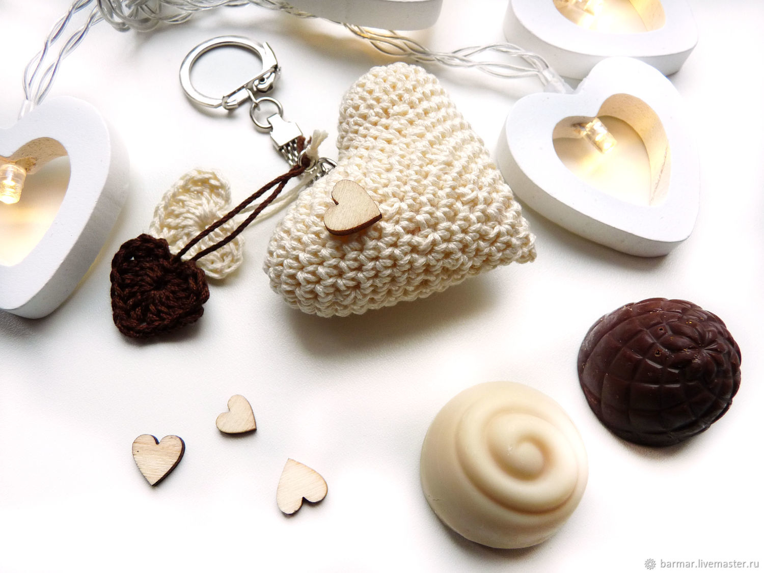 Keychain 5 cm Knitted heart Light chocolate, Key chain, Moscow,  Фото №1