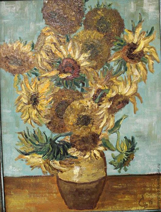 """Картины цветов ручной работы. Ярмарка Мастеров - ручная работа. Купить Картина цветов маслом """"Подсолнухи Ван Гога""""2. Handmade."""
