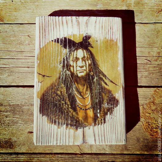 """Этно ручной работы. Ярмарка Мастеров - ручная работа. Купить Интерьерное панно """"Вождь Амитола """". Handmade. Разноцветный, индейцы"""