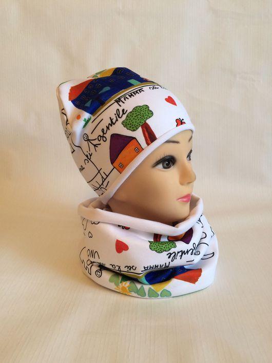Шапки ручной работы. Ярмарка Мастеров - ручная работа. Купить Комплект шапка и снуд из футера Италии. Handmade. Комплект